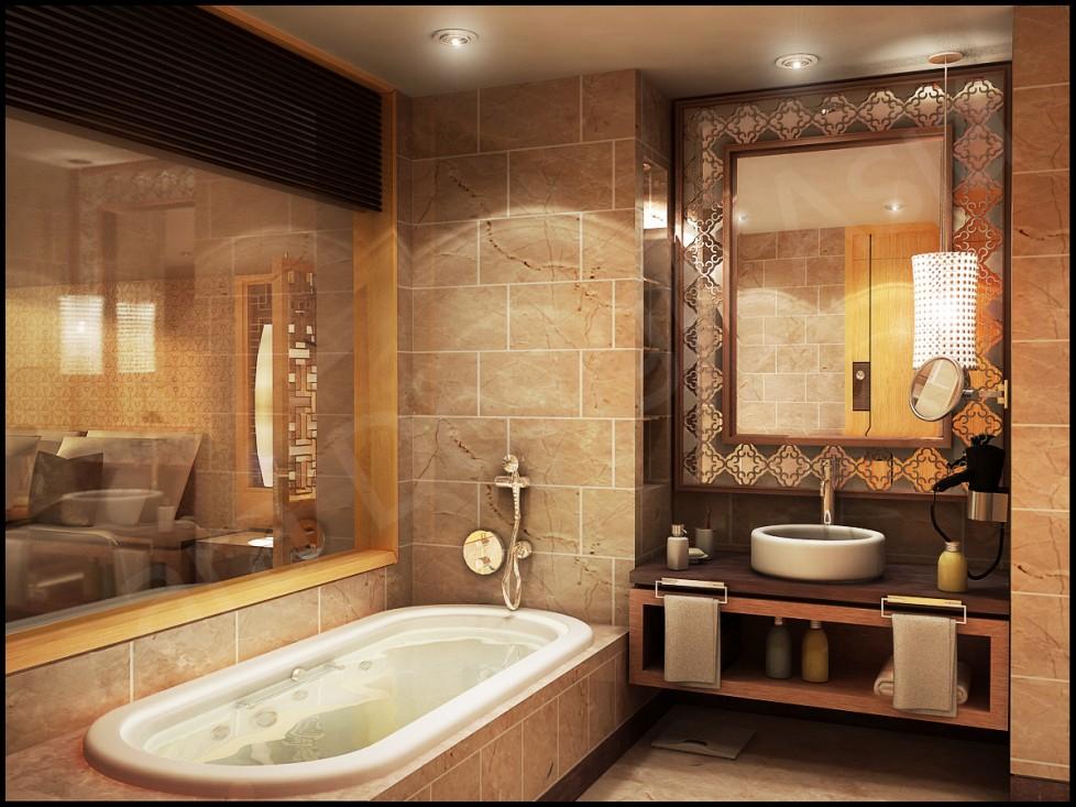 صورة للحمام زخارف ذهبية في الحوائط وحول المرايا تضفي فخامة