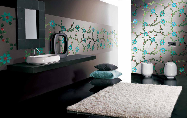 صورة عدة تصاميم خيالية للحمامات وزخارف جدران