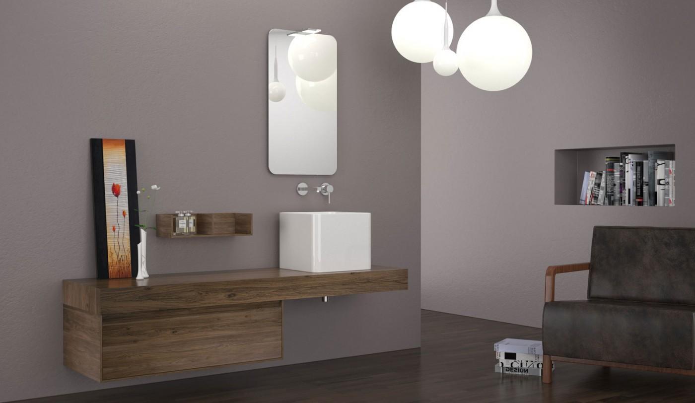 صورة تداخل الوان الخشب الطبيعي مع عناصر التصميم الاخرى للحمام