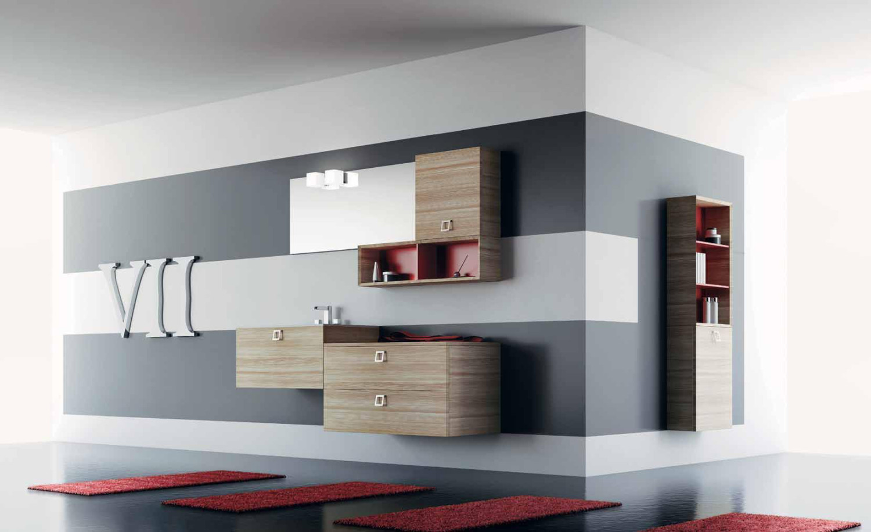 صورة تداخلات اللون الاحمر مع درجات البني في الحمام