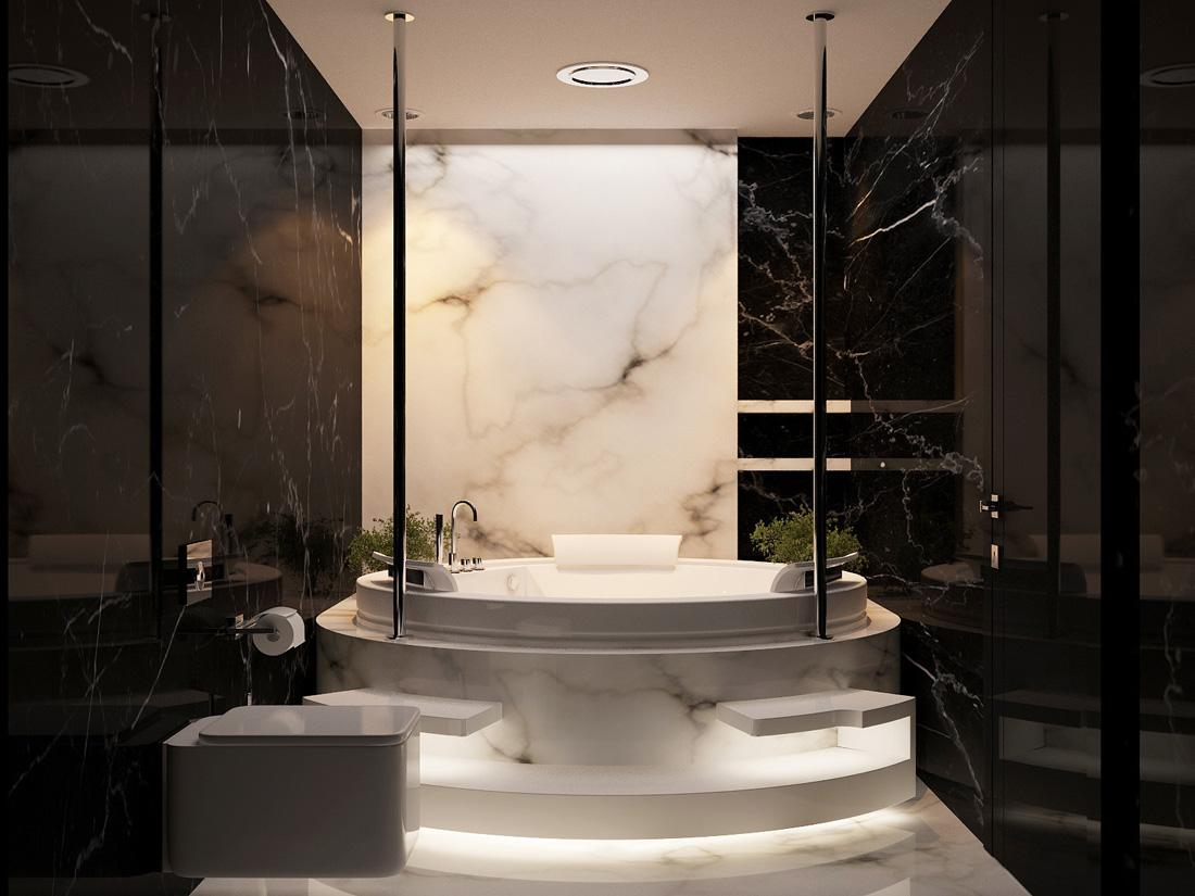 صورة جمال الرخام الابيض والرمادي يضفي الهدوء والاسترخاء في الحمام