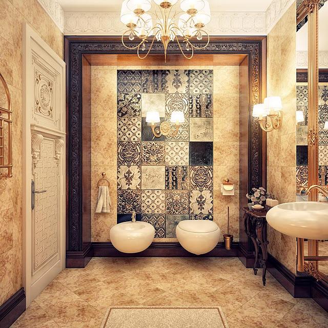 بالصور عشاق الفخامة واللمسات الملكية في البيت اليك هذا الحمام الملكي 33718 4