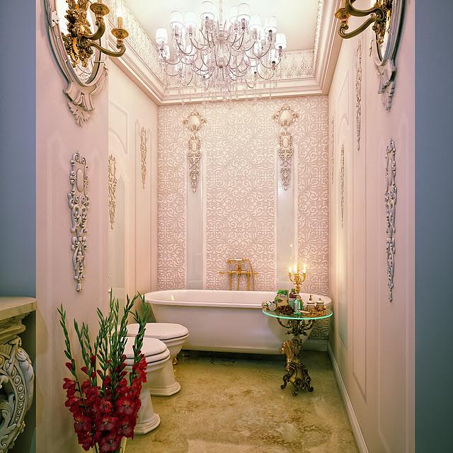 بالصور عشاق الفخامة واللمسات الملكية في البيت اليك هذا الحمام الملكي 33718 6