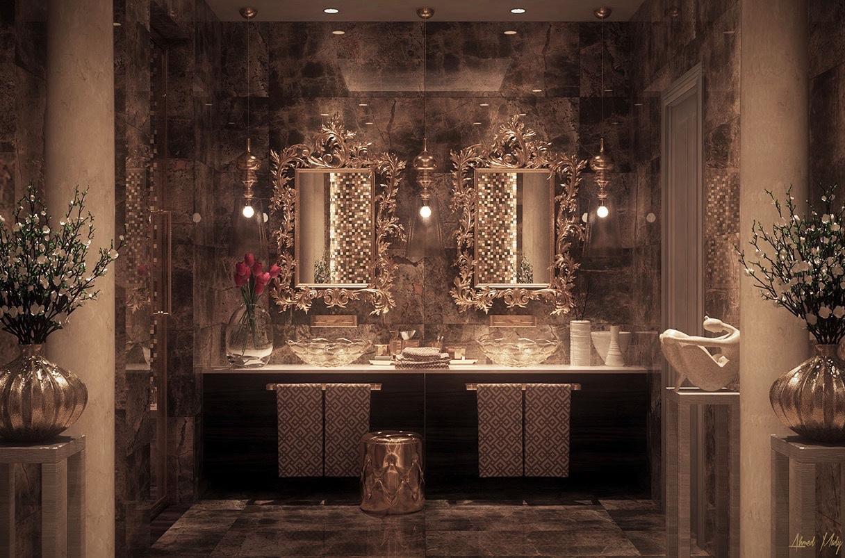 بالصور عشاق الفخامة واللمسات الملكية في البيت اليك هذا الحمام الملكي 33718 8