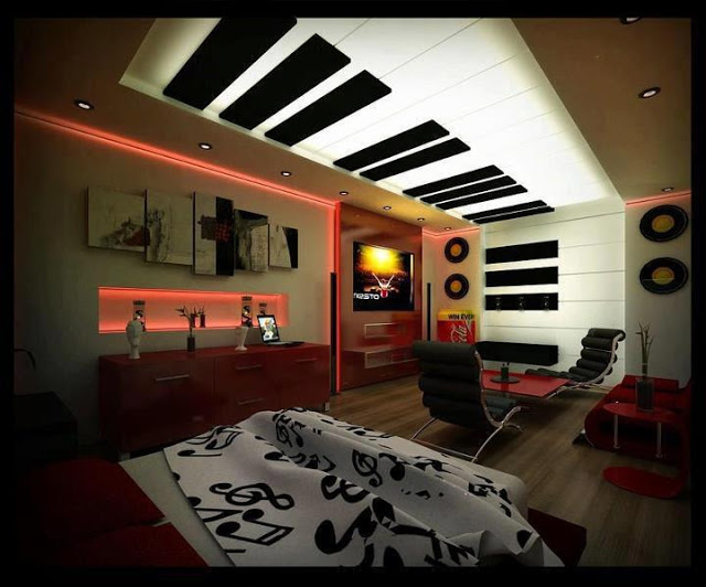 بالصور جبس 2019 لغرف النوم creative bedroom ceiling designs from PVC and printable fabric